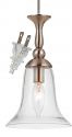 "Belair Brushed Steel & Glass Plug In Mini Pendant Light 7""W"