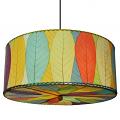 "Drum Cocoa Leaf Pendant Light 18-24""Wx10""H #497- Multi Color"