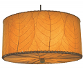 "Drum Cocoa Leaf Pendant Light 18-24""Wx10""H #497- Orange"