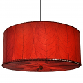"Drum Cocoa Leaf Pendant Light 18-24""Wx10""H #497- Red"