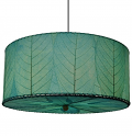 "Drum Cocoa Leaf Pendant Light 18-24""Wx10""H #497- Sea Blue"