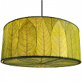 "Drum Cocoa Leaf Pendant Light 18-24""Wx10""H #497- Green"