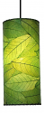 "Cocoa Leaf Cylinder Pendant Light 16.5""Hx7""W #504- Green"