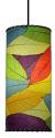 "Cocoa Leaf Cylinder Pendant Light 16.5""Hx7""W #504- Multi Color"