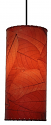 """Cocoa Leaf Cylinder Pendant Light 16.5""""Hx7""""W #504- Red"""