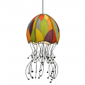 "Jellyfish Cocoa Leaf Pendant Light 35""Hx15""W #525- Natural"