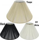 "Coolie Silk String Lamp Shade Off White, Taupe, Black 16-22""W"