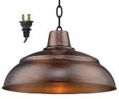 """Genuine Copper Plug In Pendant Light 14-17""""W"""