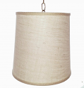"Ivory Burlap Drum Swag lamp 12""W"
