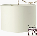 "Cream or White Linen Drum Swag Lamp 15""W"