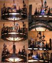 "Cross Cut Saw Mica Metal Chandelier 30""W"
