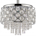 "Isabella Crystals & Polished Nickel Double Drum Pendant Light 18""Wx20""H"
