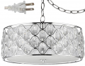 "Isabella Crystals & Polished Nickel Drum Plug In Pendant Light 16-22""W"