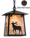 "Elk Deer Mica Pendant Light 9.5""W"