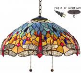 "Red Dragonflies Tiffany Chandelier 18""W"