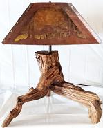 """Driftwood Lamp Mica Shade 25""""H"""