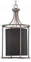 "Jackson Brushed Pewter & Dark Charcoal Drum Pendant Light 14""Wx26""H"