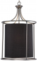 "Jackson Brushed Pewter & Dark Charcoal Drum Pendant Light 20""Wx28""H"