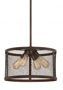"Akron Brushed Bronze Wire Mesh Drum Pendant Light 16""Wx48""H"