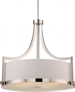 "Meadow Polished Nickel & Basket Weave Drum Pendant Light 24""Wx22""H"