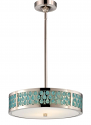 "Raindrop Nickel White Glass LED Drum Pendant Light 41""Wx59""H"
