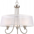 """Tess LED Polished Nickel Sheer Fabric Pendant Light Fluted Glass 24""""Wx23""""H"""