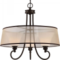 """Tess LED Aged Bronze Sheer Fabric Chandelier Fluted Glass 24""""Wx23""""H"""