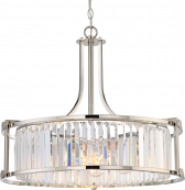"Krys Polished Nickel Crystal Drum Pendant Light Vintage Bulbs 25""Wx20""H"