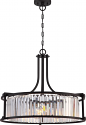 "Krys Aged Bronze Crystal Drum Pendant Light Vintage Bulbs 25""Wx20""H"
