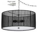"""Sheer Black Pleated Drum Swag Lamp 18""""W"""