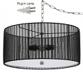 "Sheer Black Pleated Drum Plug In Pendant Light 18""W"