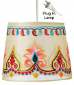 "Embroidered Cream Drum Swag Lamp 10""W"
