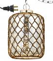 "Vintage Glass & Fish Net Plug In Pendant Light 10""Wx15.5""H"