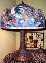 "3D Fish Swimming In Waves Iron Base Tiffany Table Lamp 26""H"