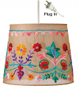 """Embroidered Flowers Beige Drum Swag Lamp 10""""W"""