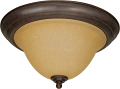 "Castillo Bronze Flush Ceiling Light Champagne Glass 15""Wx8""H"