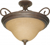 "Castillo Bronze Semi Flush Ceiling Light Champagne Glass 18""Wx15""H"
