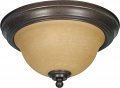"Castillo Bronze Flush Ceiling Light Champagne Glass 11""Wx7""H"