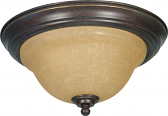 "Castillo Champagne Glass & Bronze Flush Ceiling Light 13""Wx7""H"