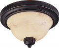 "Anastasia Bronze Flush Ceiling Light Glass Shade 11""Wx7""H"