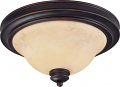 "Anastasia Bronze Flush Ceiling Light Glass Shade 13""Wx7""H"