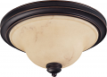 "Anastasia Bronze Flush Ceiling Light Glass Shade 15""Wx7""H"