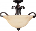 "Anastasia Bronze Semi Flush Ceiling Light Glass Shade 19""Wx15""H"
