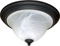 "Castillo Black Flush Ceiling Light Alabaster Glass 15""Wx8""H"