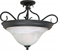 "Castillo Black Semi Flush Ceiling Light Alabaster Glass 18""Wx15""H"