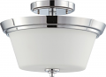 "Bento Chrome Semi Flush Ceiling Light Glass Shade 13""Wx9""H"