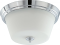 "Bento Chrome Flush Ceiling Light Satin Glass 13""Wx6""H"