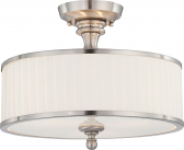 "Candice Nickel Drum Semi Flush Ceiling Light Glass Shade 15""Wx12""H"