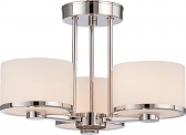 "Celine Nickel Drum Semi Flush Ceiling Light Glass Shade 15""Wx11""H"