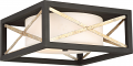 "Boxer Matte Black Antique Silver Flush Ceiling Light 14""W"